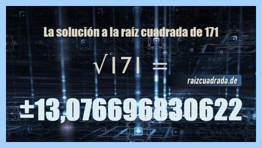 Número finalmente hallado en la operación matemática raíz del número 171
