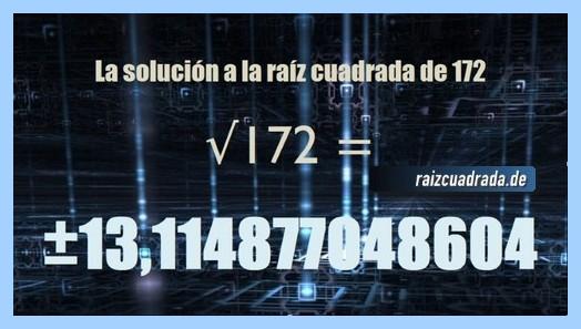Solución finalmente hallada en la operación raíz cuadrada del número 172