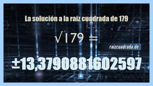 Solución conseguida en la raíz cuadrada de 179
