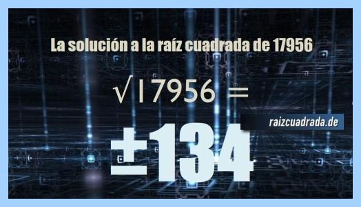 Resultado finalmente hallado en la resolución operación matemática raíz de 17956