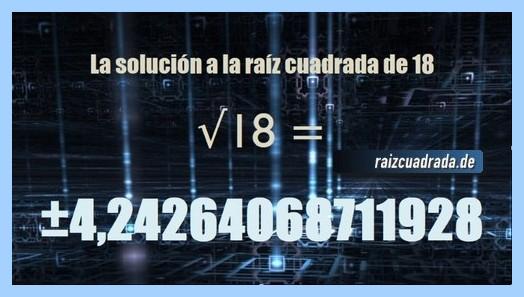 Resultado que se obtiene en la resolución operación raíz cuadrada del número 18