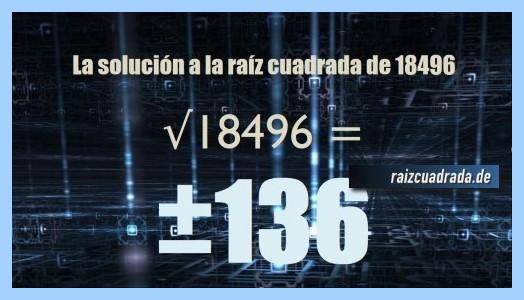 Solución conseguida en la raíz cuadrada de 18496