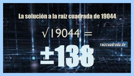 Número final de la operación matemática raíz cuadrada de 19044