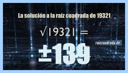 Resultado que se obtiene en la operación matemática raíz del número 19321