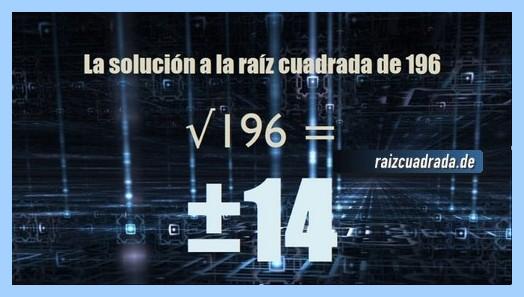 Resultado final de la raíz cuadrada del número 196