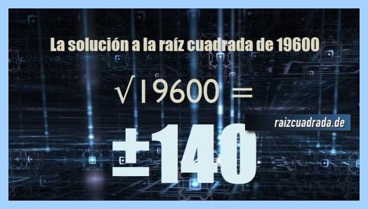 Solución conseguida en la operación matemática raíz de 19600