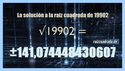 Resultado finalmente hallado en la raíz cuadrada de 19902