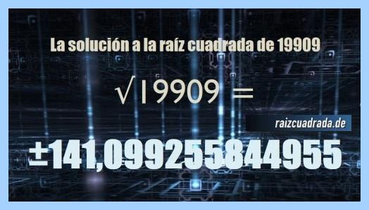 Número obtenido en la resolución raíz de 19909