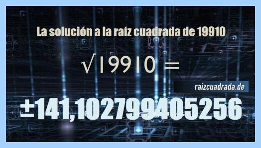 Solución que se obtiene en la raíz cuadrada del número 19910