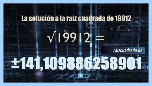Solución final de la operación matemática raíz cuadrada del número 19912