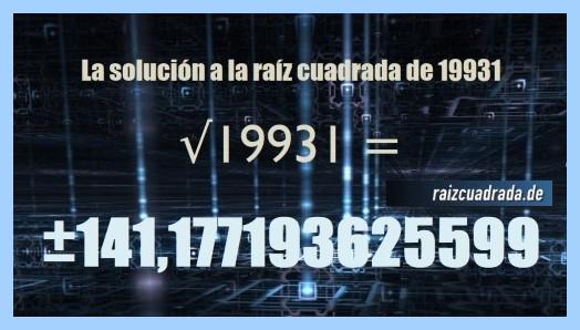 Resultado conseguido en la raíz cuadrada del número 19931