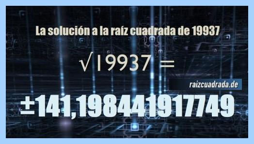 Solución que se obtiene en la resolución operación raíz cuadrada del número 19937