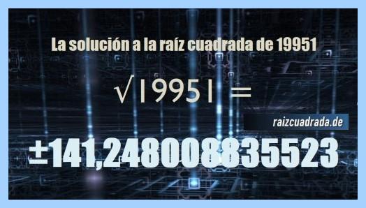 Resultado que se obtiene en la resolución raíz cuadrada del número 19951
