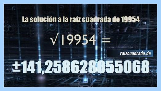 Resultado que se obtiene en la resolución raíz cuadrada de 19954