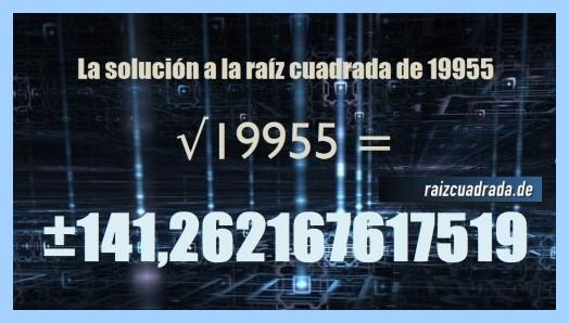 Solución finalmente hallada en la operación matemática raíz de 19955