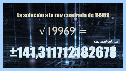 Resultado que se obtiene en la resolución operación matemática raíz cuadrada de 19969