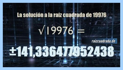 Solución obtenida en la operación raíz del número 19976