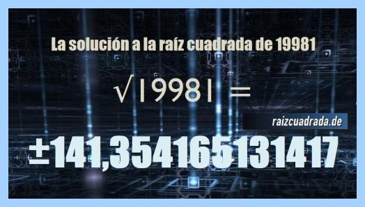 Número obtenido en la resolución raíz cuadrada del número 19981