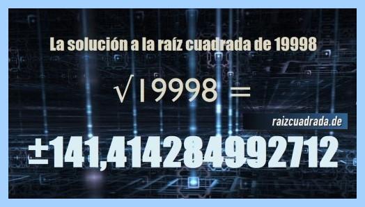 Solución obtenida en la raíz de 19998