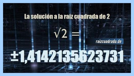 Solución finalmente hallada en la resolución raíz cuadrada del número 2
