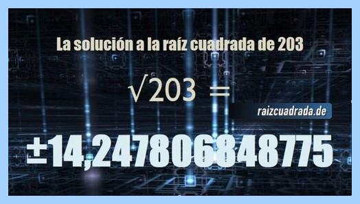 Número final de la operación matemática raíz cuadrada del número 203