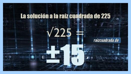 Solución obtenida en la raíz cuadrada de 225