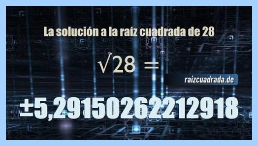Solución obtenida en la raíz cuadrada del número 28