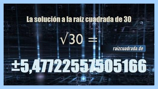 Solución conseguida en la resolución operación raíz cuadrada de 30