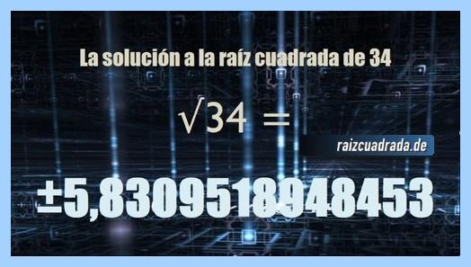 Solución conseguida en la operación matemática raíz cuadrada del número 34