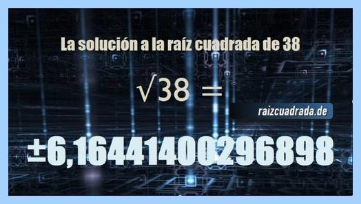 Número conseguido en la resolución raíz cuadrada de 38