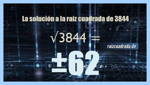 Solución que se obtiene en la operación raíz de 3844