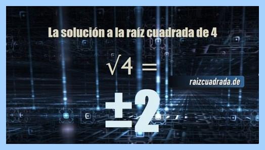 Solución conseguida en la raíz cuadrada de 4