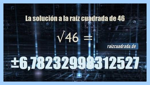 Número obtenido en la resolución raíz cuadrada de 46