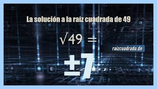 Solución obtenida en la raíz del número 49