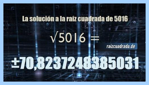 Solución obtenida en la resolución operación matemática raíz de 5016
