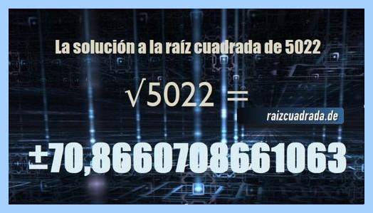 Número finalmente hallado en la resolución operación raíz cuadrada del número 5022