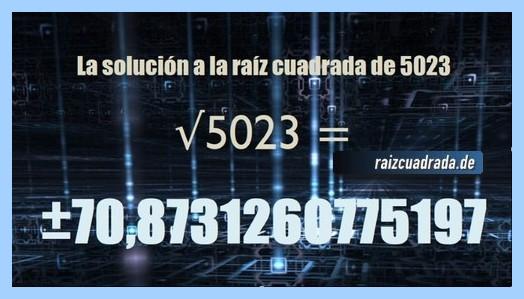 Número obtenido en la resolución raíz cuadrada del número 5023