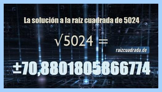 Solución que se obtiene en la operación matemática raíz cuadrada de 5024