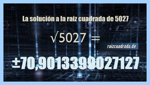 Número final de la raíz cuadrada de 5027