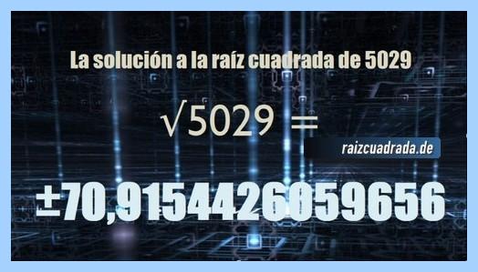Resultado obtenido en la resolución operación matemática raíz cuadrada de 5029