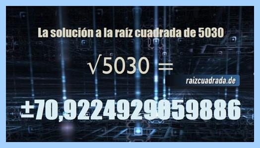 Resultado conseguido en la resolución operación matemática raíz cuadrada de 5030