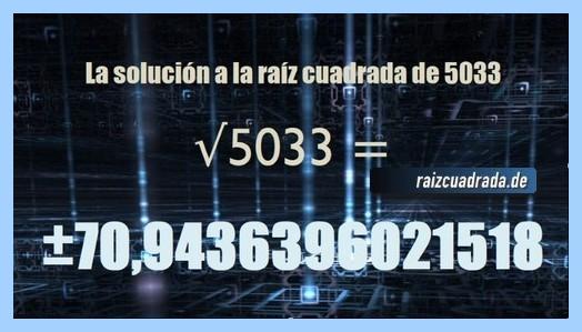 Número final de la resolución operación matemática raíz cuadrada del número 5033