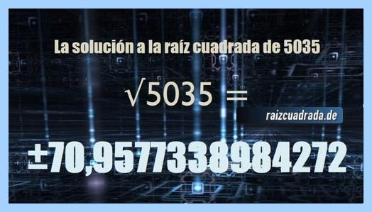 Número final de la resolución operación raíz del número 5035
