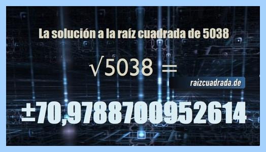 Número finalmente hallado en la resolución operación matemática raíz del número 5038