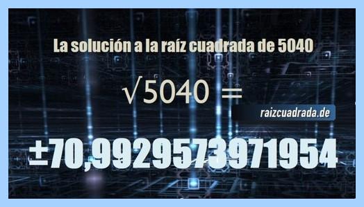 Solución obtenida en la raíz cuadrada de 5040