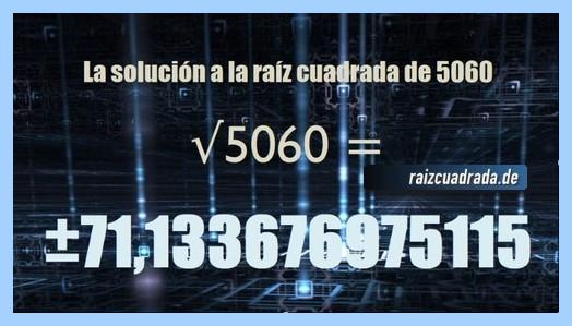 Solución final de la operación matemática raíz del número 5060