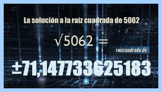 Solución finalmente hallada en la resolución operación matemática raíz del número 5062