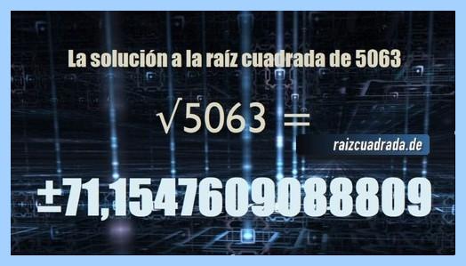 Solución finalmente hallada en la operación raíz de 5063
