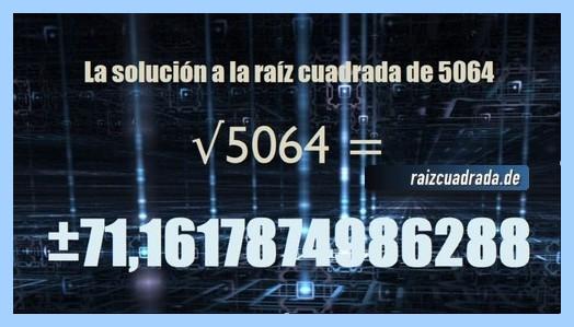 Resultado obtenido en la resolución operación matemática raíz cuadrada del número 5064