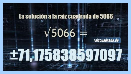 Número final de la resolución operación raíz cuadrada del número 5066